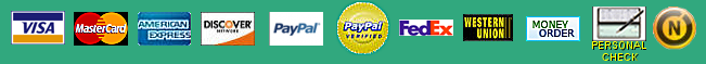 We accept VISA, MASTERCARD, AMERICAN EXPRESS, DISCOVER, PAYPAL, PERSONAL CHECKS, MONEY ORDERS, and BANK WIRES.